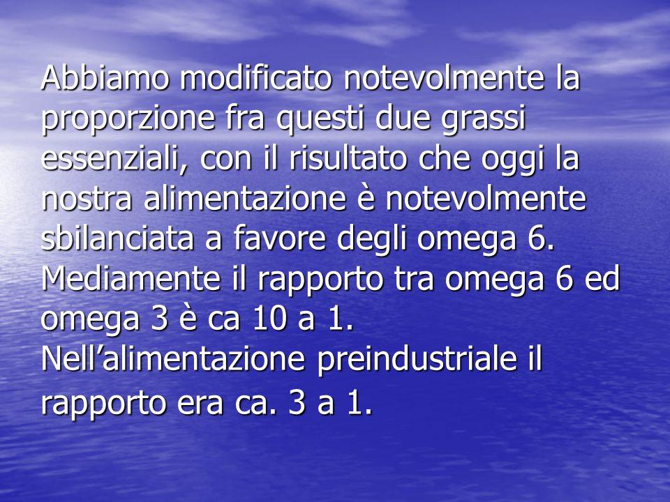 Abbiamo modificato notevolmente la proporzione fra questi due grassi essenziali, con il risultato che oggi la nostra alimentazione è notevolmente sbilanciata a favore degli omega 6. Mediamente il rapporto tra omega 6 ed omega 3 è ca 10 a 1. Nell'alimentazione preindustriale il rapporto era ca. 3 a 1.