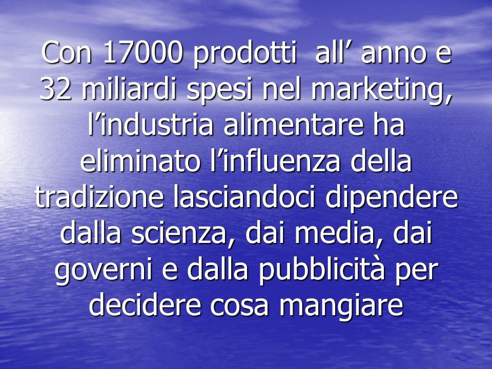Con 17000 prodotti all' anno e 32 miliardi spesi nel marketing, l'industria alimentare ha eliminato l'influenza della tradizione lasciandoci dipendere dalla scienza, dai media, dai governi e dalla pubblicità per decidere cosa mangiare