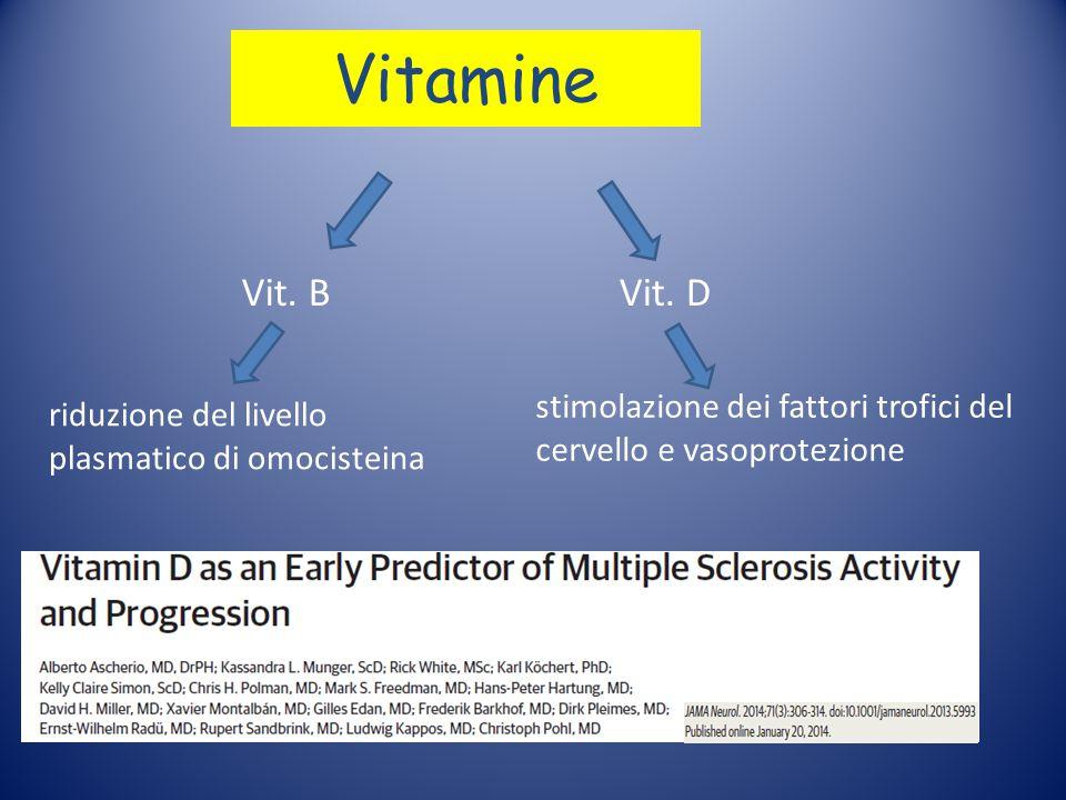 Vitamine Vit. B. Vit. D. stimolazione dei fattori trofici del cervello e vasoprotezione.
