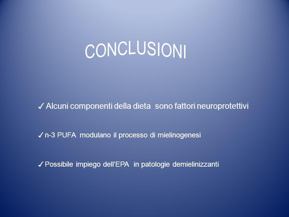 CONCLUSIONI ✓ Alcuni componenti della dieta sono fattori neuroprotettivi. ✓ n-3 PUFA modulano il processo di mielinogenesi.