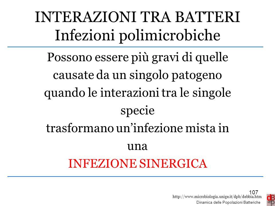 INTERAZIONI TRA BATTERI Infezioni polimicrobiche