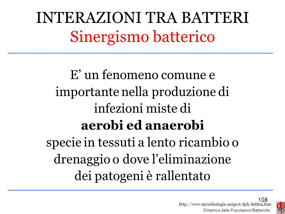 INTERAZIONI TRA BATTERI Sinergismo batterico