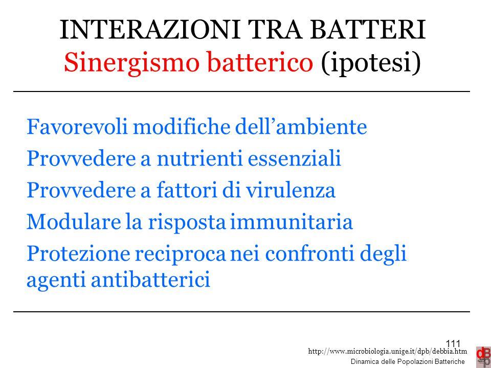 INTERAZIONI TRA BATTERI Sinergismo batterico (ipotesi)