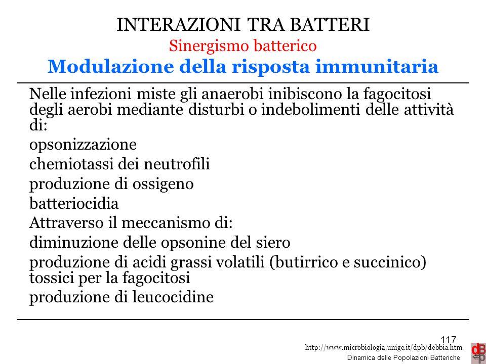 INTERAZIONI TRA BATTERI Sinergismo batterico Modulazione della risposta immunitaria