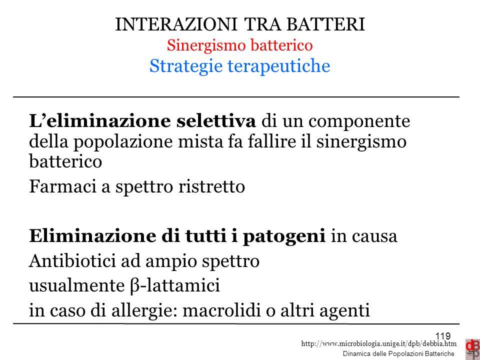 INTERAZIONI TRA BATTERI Sinergismo batterico Strategie terapeutiche