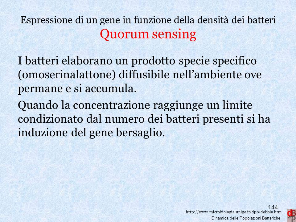 Espressione di un gene in funzione della densità dei batteri Quorum sensing