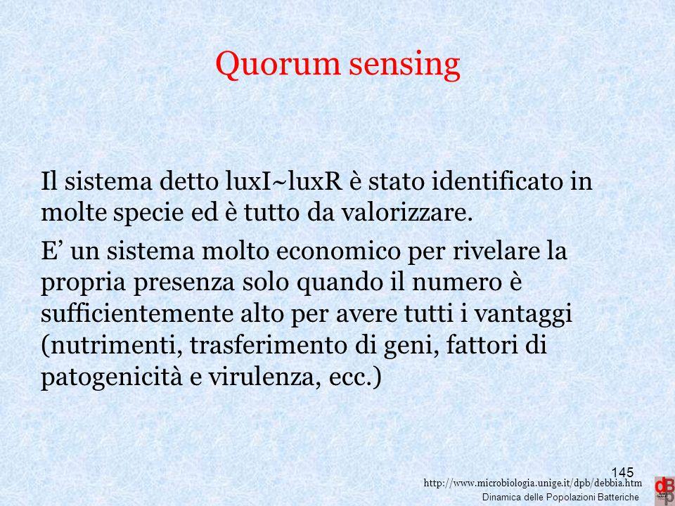 Quorum sensing Il sistema detto luxI~luxR è stato identificato in molte specie ed è tutto da valorizzare.