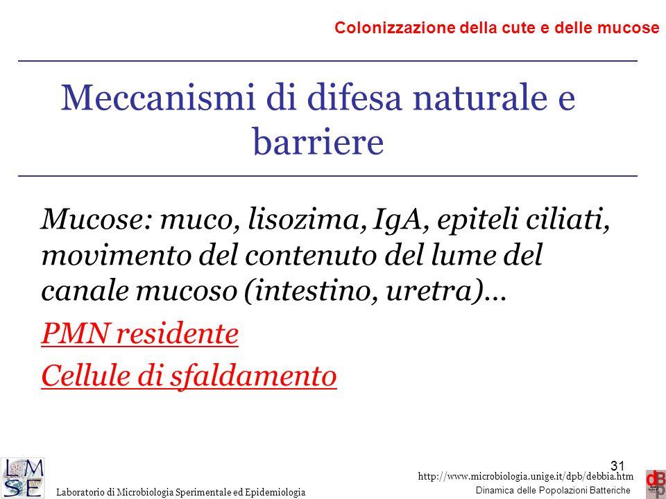 Meccanismi di difesa naturale e barriere