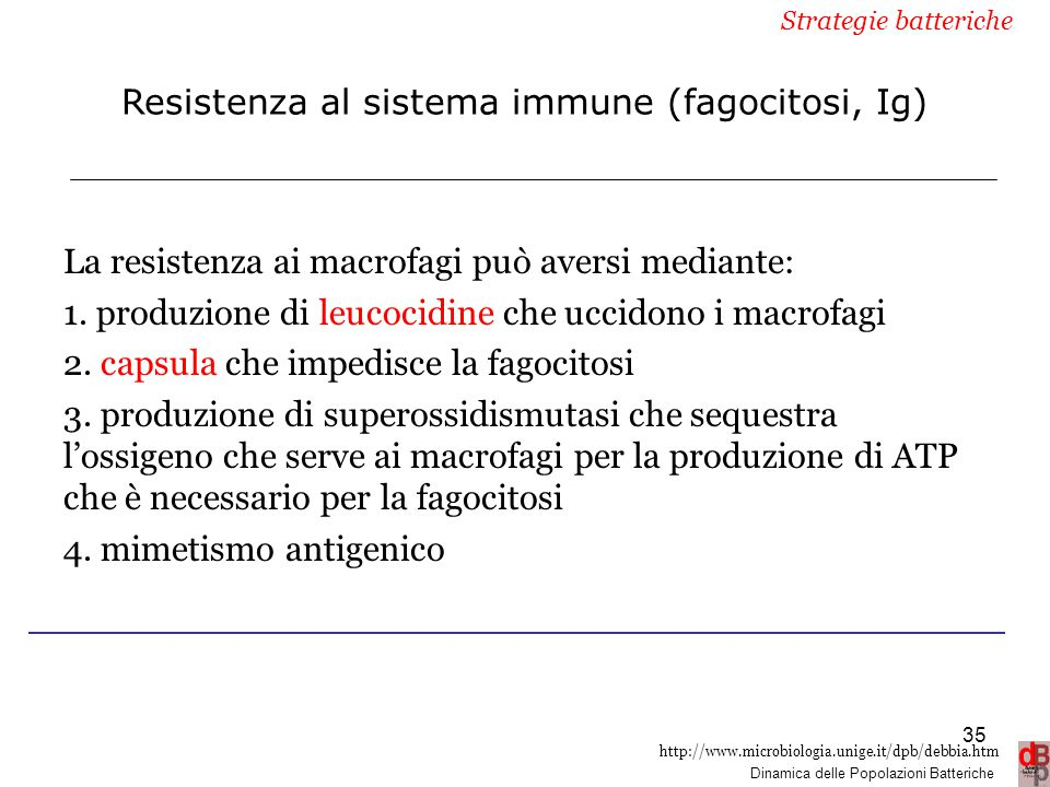 Resistenza al sistema immune (fagocitosi, Ig)