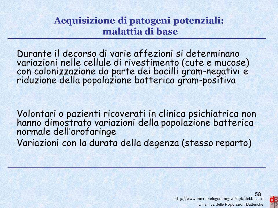 Acquisizione di patogeni potenziali: malattia di base