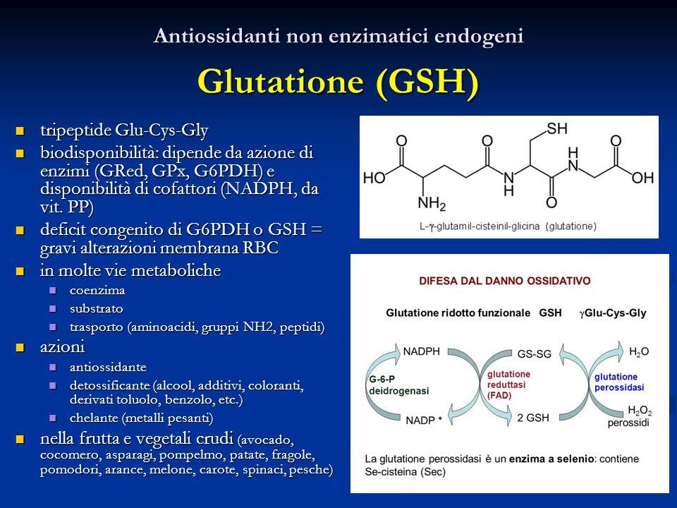 Antiossidanti non enzimatici endogeni Glutatione (GSH)