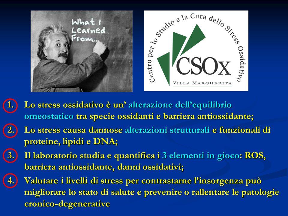 Lo stress ossidativo è un' alterazione dell'equilibrio omeostatico tra specie ossidanti e barriera antiossidante;