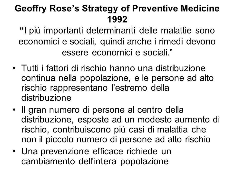 Geoffry Rose's Strategy of Preventive Medicine 1992 I più importanti determinanti delle malattie sono economici e sociali, quindi anche i rimedi devono essere economici e sociali.