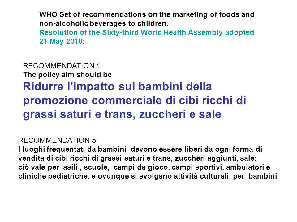 WHO Set of recommendations on the marketing of foods and non-alcoholic beverages to children.