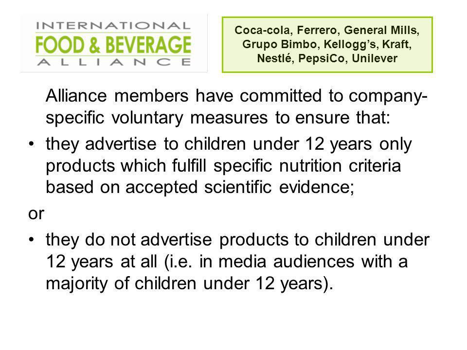 Coca-cola, Ferrero, General Mills, Grupo Bimbo, Kellogg's, Kraft, Nestlé, PepsiCo, Unilever