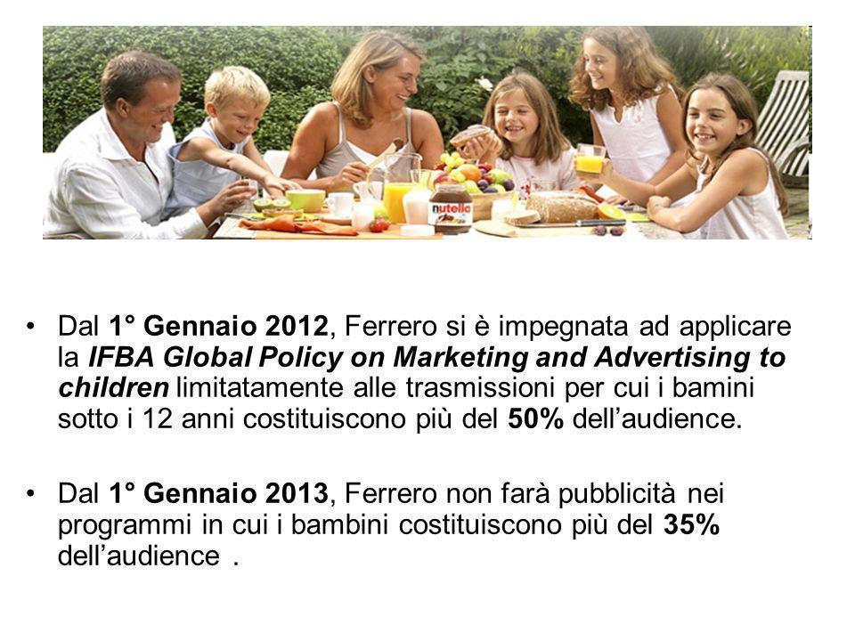 Dal 1° Gennaio 2012, Ferrero si è impegnata ad applicare la IFBA Global Policy on Marketing and Advertising to children limitatamente alle trasmissioni per cui i bamini sotto i 12 anni costituiscono più del 50% dell'audience.