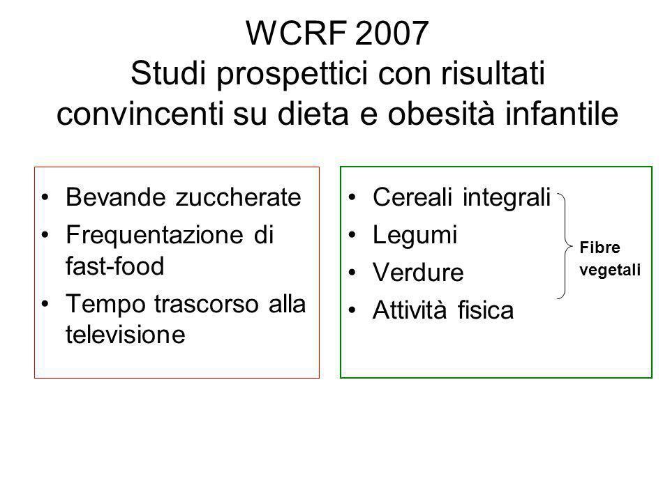 WCRF 2007 Studi prospettici con risultati convincenti su dieta e obesità infantile