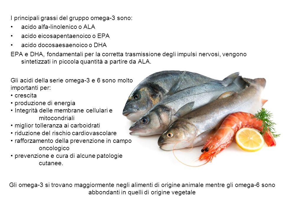 I principali grassi del gruppo omega-3 sono:
