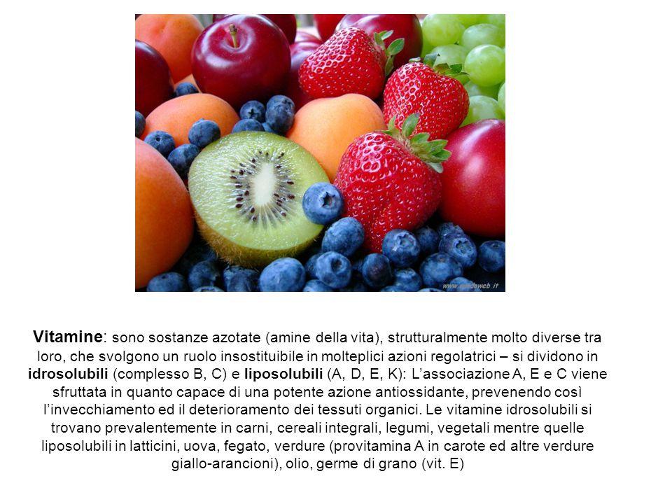 Vitamine: sono sostanze azotate (amine della vita), strutturalmente molto diverse tra loro, che svolgono un ruolo insostituibile in molteplici azioni regolatrici – si dividono in idrosolubili (complesso B, C) e liposolubili (A, D, E, K): L'associazione A, E e C viene sfruttata in quanto capace di una potente azione antiossidante, prevenendo così l'invecchiamento ed il deterioramento dei tessuti organici.