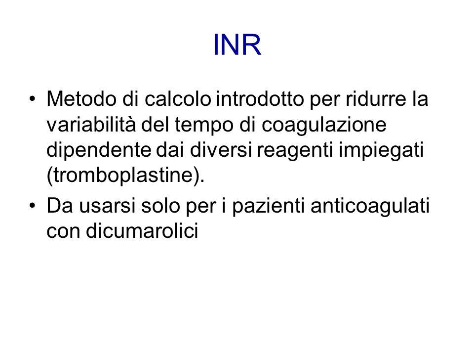 INR Metodo di calcolo introdotto per ridurre la variabilità del tempo di coagulazione dipendente dai diversi reagenti impiegati (tromboplastine).