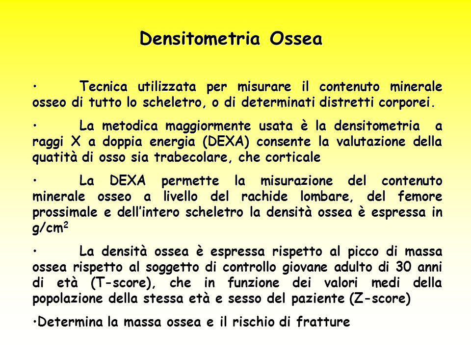 Densitometria Ossea Tecnica utilizzata per misurare il contenuto minerale osseo di tutto lo scheletro, o di determinati distretti corporei.