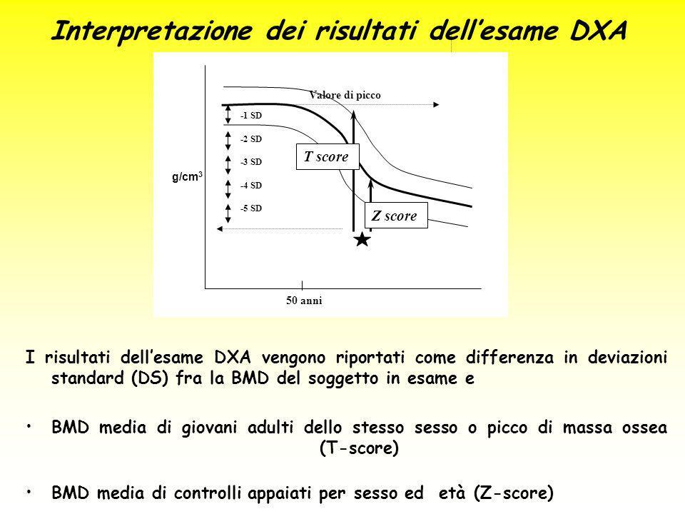 Interpretazione dei risultati dell'esame DXA
