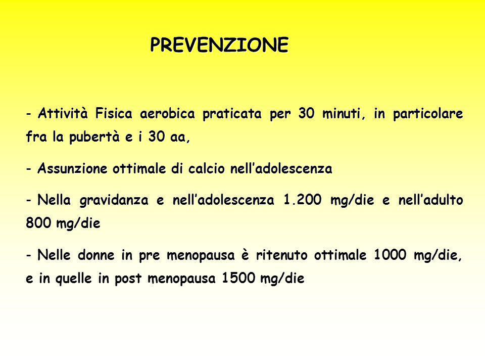 PREVENZIONE Attività Fisica aerobica praticata per 30 minuti, in particolare fra la pubertà e i 30 aa,