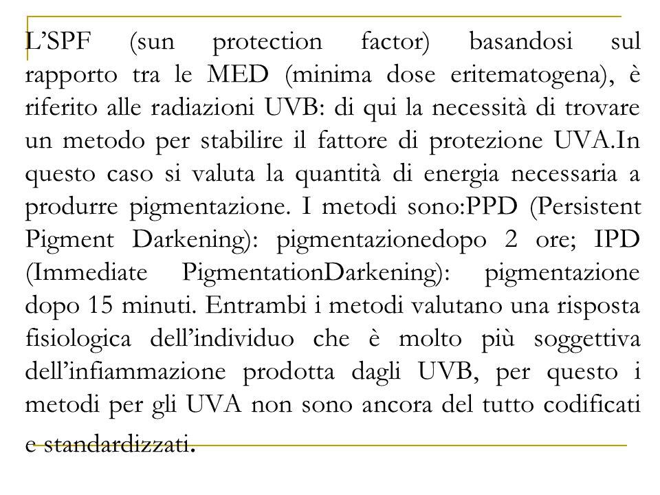 L'SPF (sun protection factor) basandosi sul rapporto tra le MED (minima dose eritematogena), è riferito alle radiazioni UVB: di qui la necessità di trovare un metodo per stabilire il fattore di protezione UVA.In questo caso si valuta la quantità di energia necessaria a produrre pigmentazione.