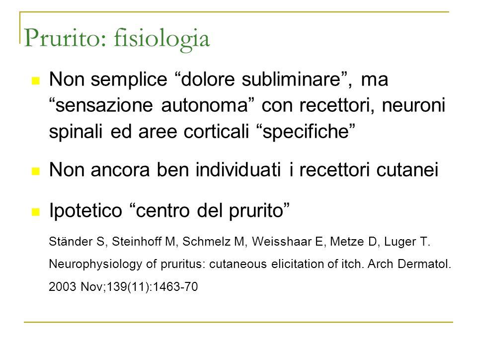 Prurito: fisiologia Non semplice dolore subliminare , ma sensazione autonoma con recettori, neuroni spinali ed aree corticali specifiche