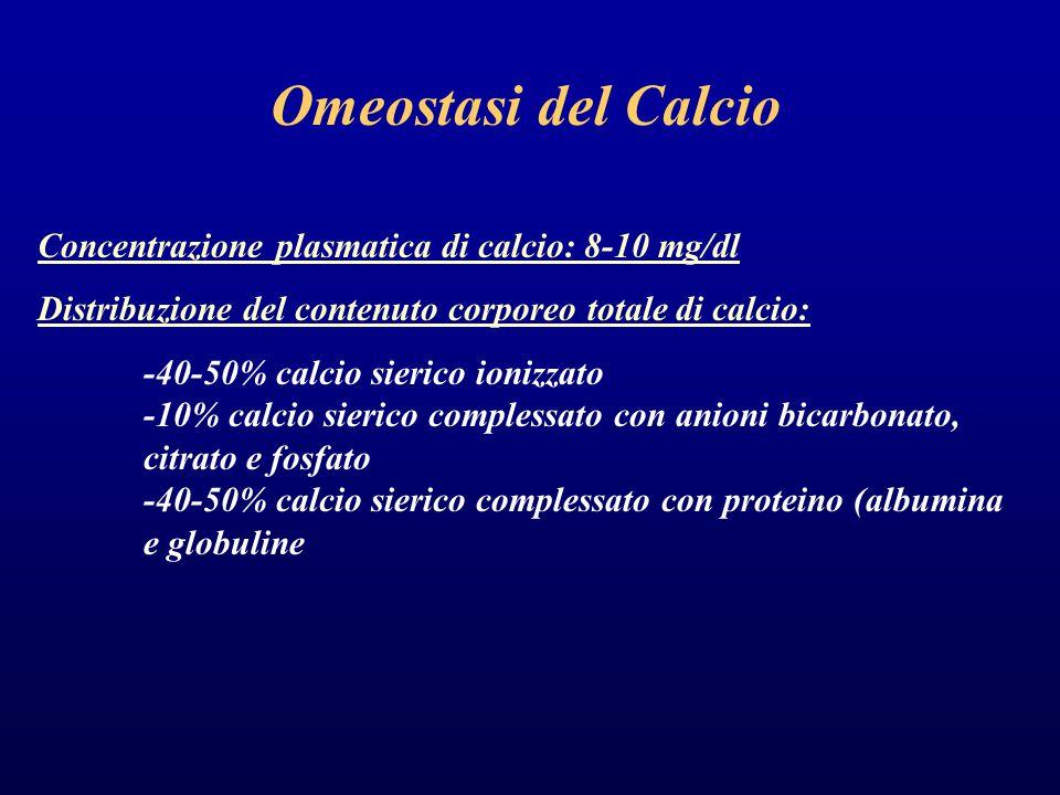Omeostasi del Calcio Concentrazione plasmatica di calcio: 8-10 mg/dl