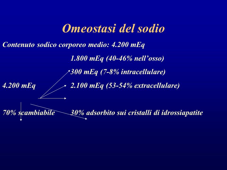 Omeostasi del sodio Contenuto sodico corporeo medio: 4.200 mEq