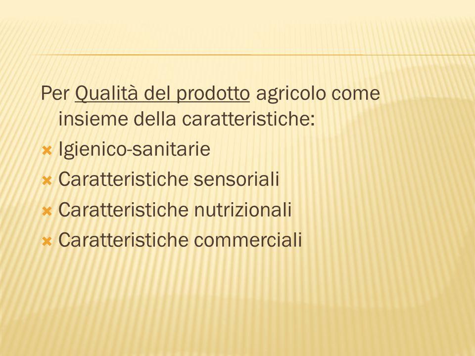 Per Qualità del prodotto agricolo come insieme della caratteristiche: