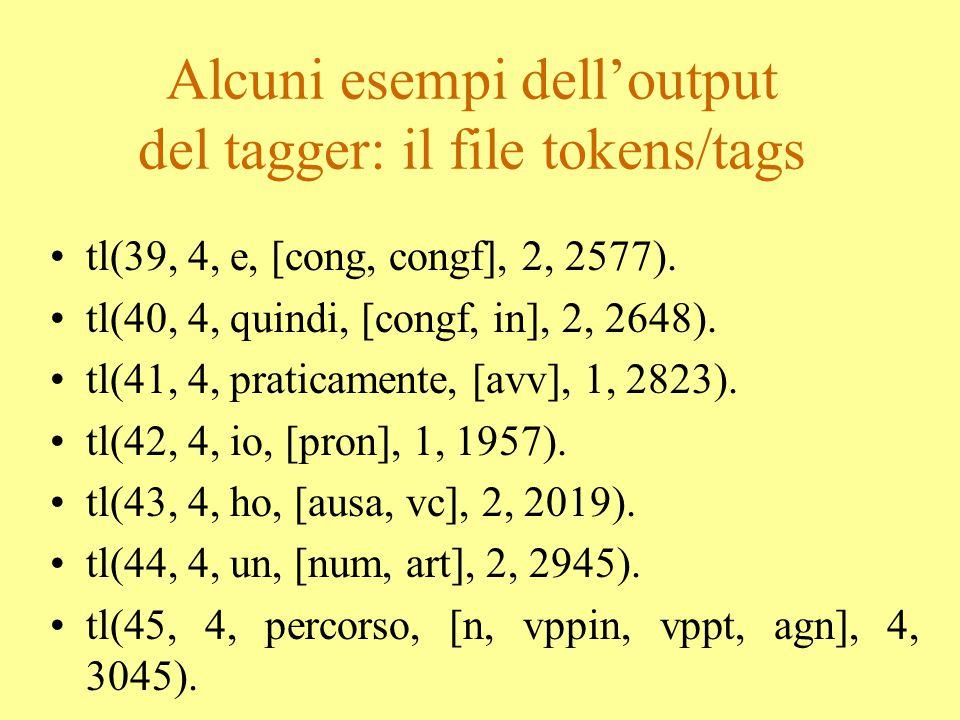 Alcuni esempi dell'output del tagger: il file tokens/tags