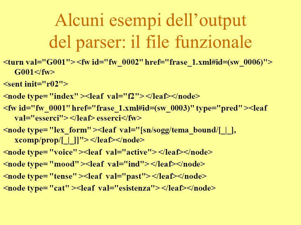 Alcuni esempi dell'output del parser: il file funzionale