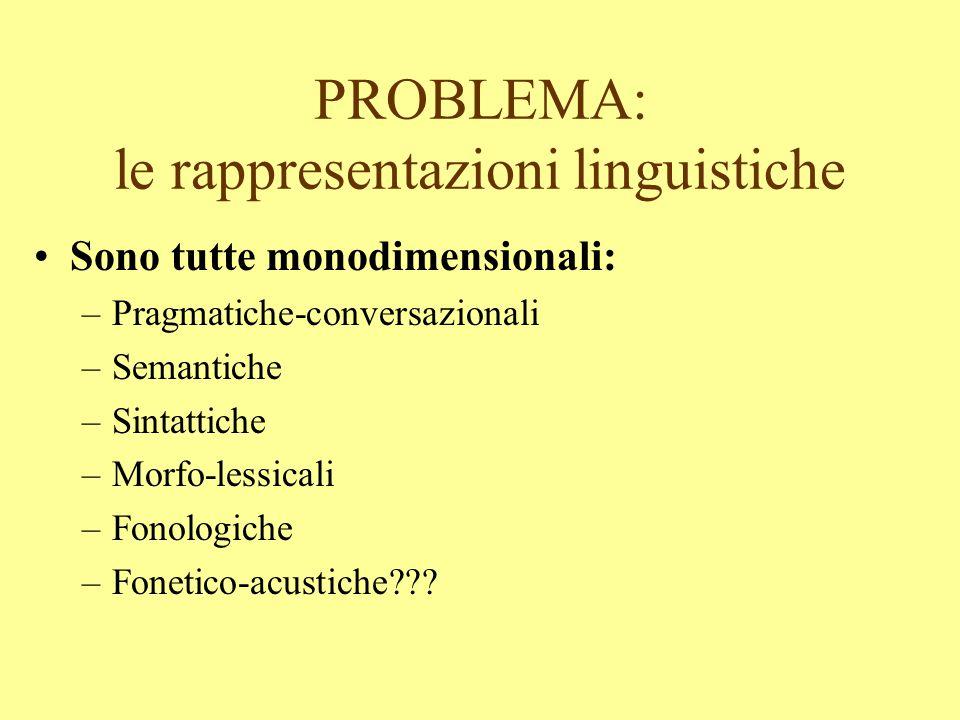 PROBLEMA: le rappresentazioni linguistiche