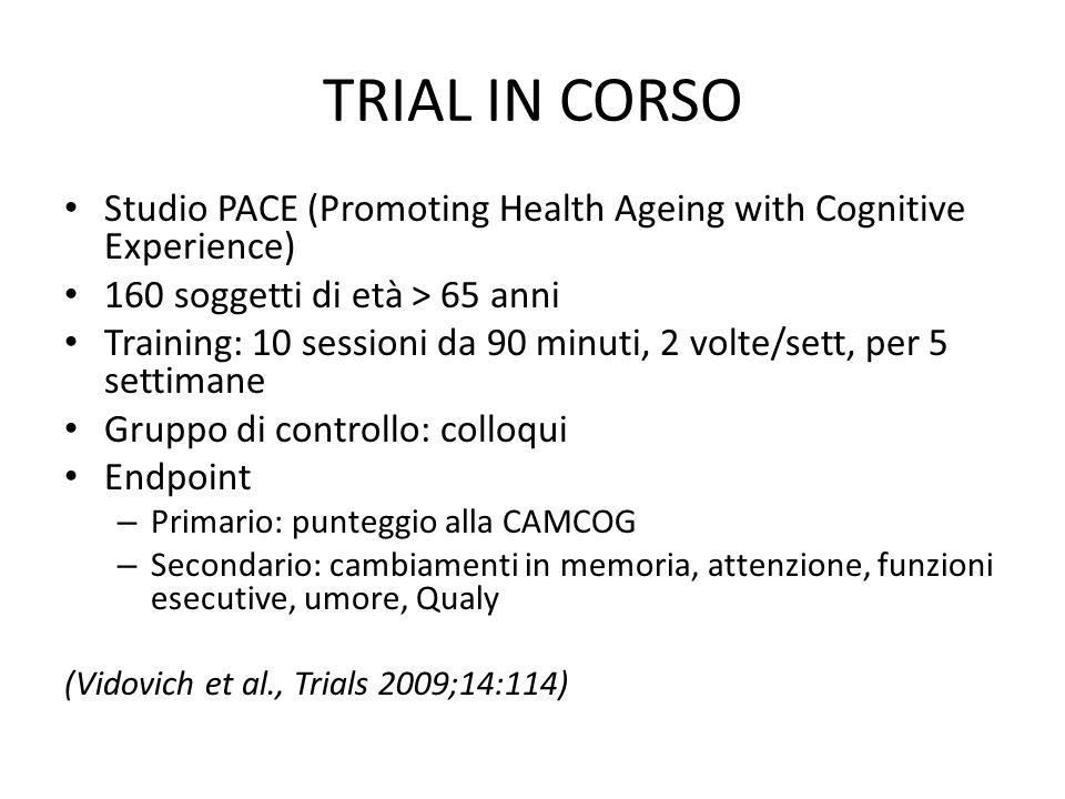 TRIAL IN CORSO Studio PACE (Promoting Health Ageing with Cognitive Experience) 160 soggetti di età > 65 anni.