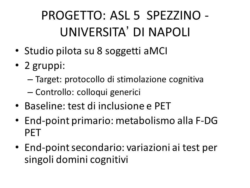 PROGETTO: ASL 5 SPEZZINO - UNIVERSITA' DI NAPOLI
