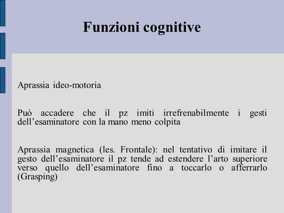 Funzioni cognitive Aprassia ideo-motoria