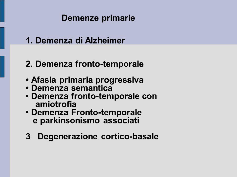 Demenze primarie 1. Demenza di Alzheimer. 2. Demenza fronto-temporale. • Afasia primaria progressiva.