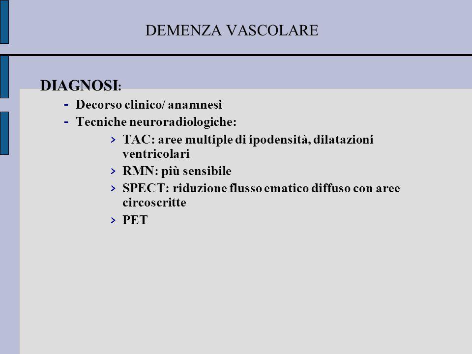 DEMENZA VASCOLARE DIAGNOSI: Decorso clinico/ anamnesi