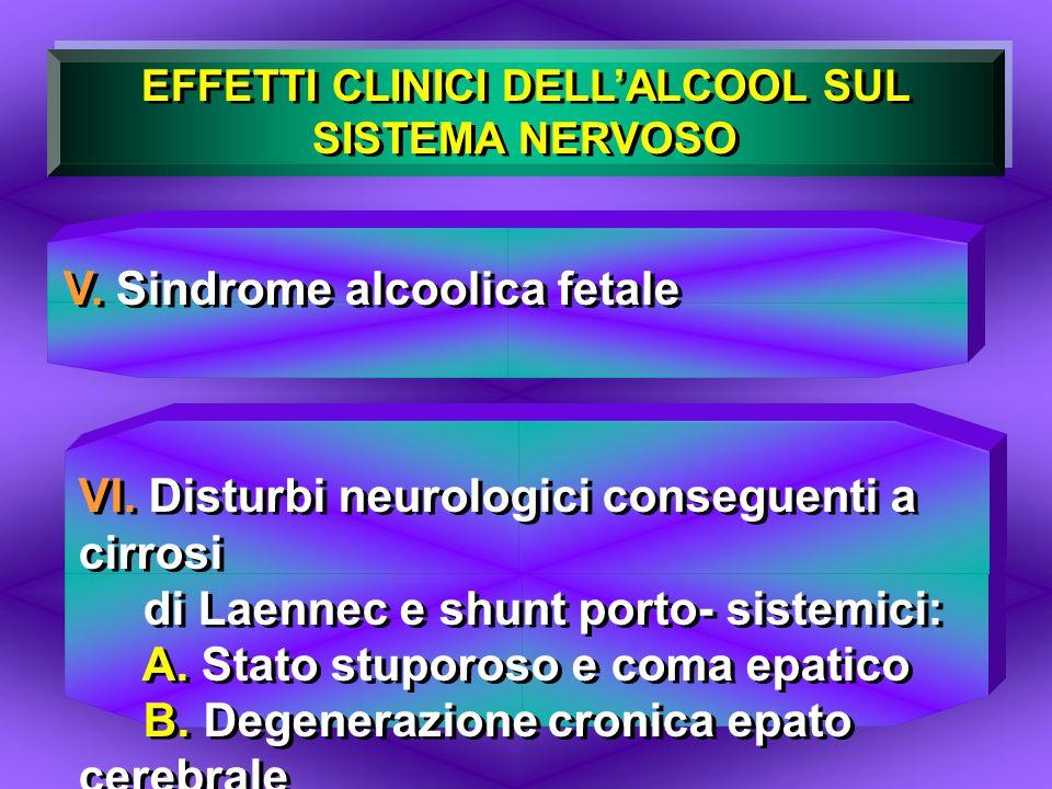 EFFETTI CLINICI DELL'ALCOOL SUL SISTEMA NERVOSO