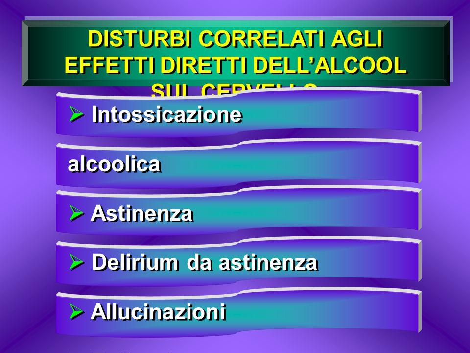 DISTURBI CORRELATI AGLI EFFETTI DIRETTI DELL'ALCOOL SUL CERVELLO
