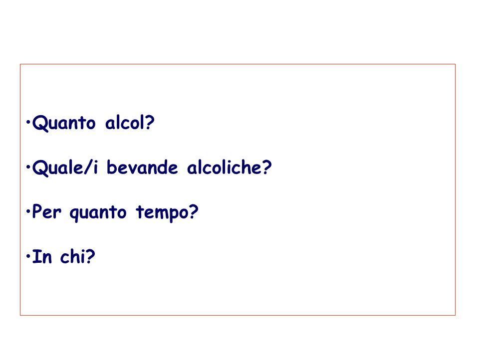 Quanto alcol Quale/i bevande alcoliche Per quanto tempo In chi