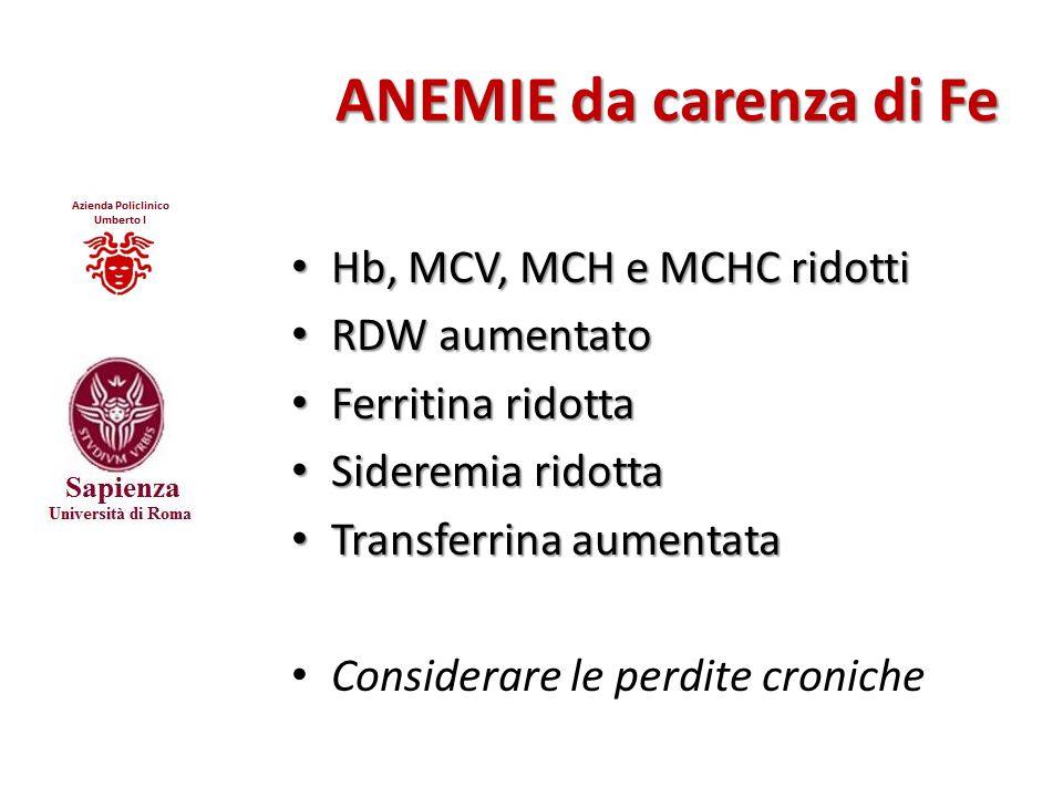 ANEMIE da carenza di Fe Hb, MCV, MCH e MCHC ridotti RDW aumentato