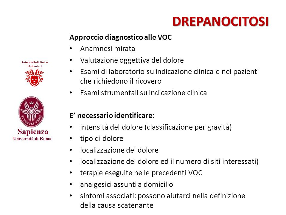 Approccio diagnostico alle VOC Anamnesi mirata