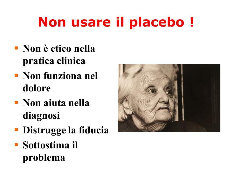 Non usare il placebo ! Non è etico nella pratica clinica