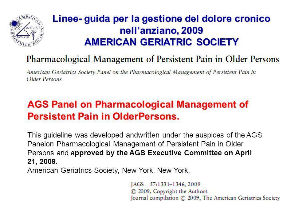 Linee- guida per la gestione del dolore cronico nell'anziano, 2009