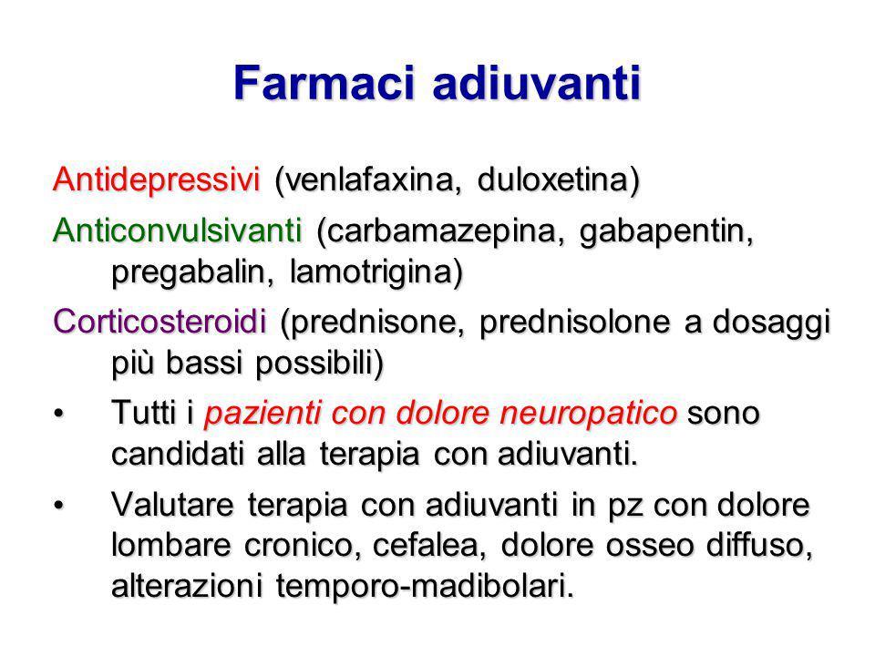 Farmaci adiuvanti Antidepressivi (venlafaxina, duloxetina)