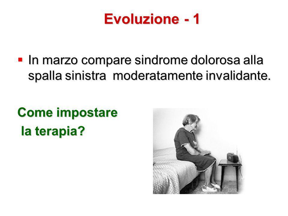 Evoluzione - 1 In marzo compare sindrome dolorosa alla spalla sinistra moderatamente invalidante.