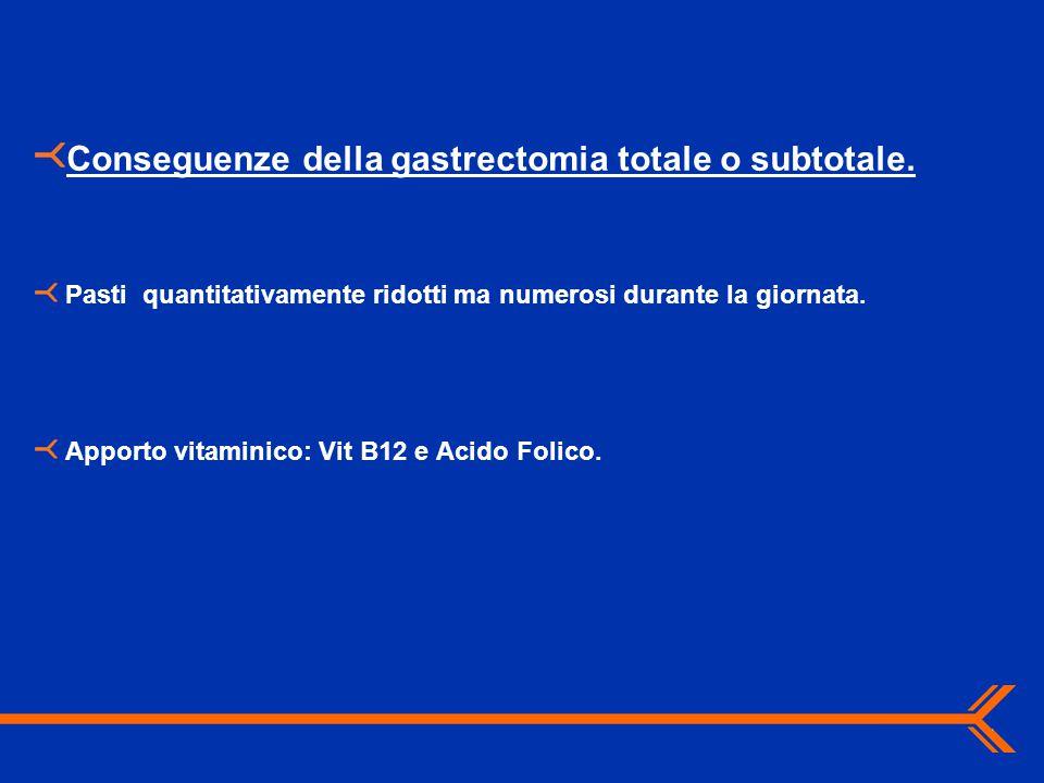 Conseguenze della gastrectomia totale o subtotale.